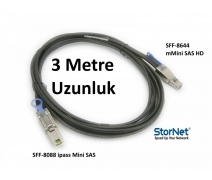 MiniSAS ipass to External MiniSAS HD 3metre Kablo StorNET SFF8644 to SFF8088