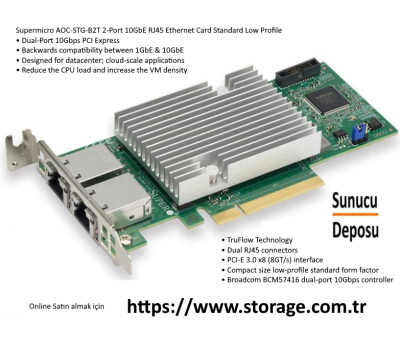 Supermicro AOC-STG-B2T 2-Port 10GbE RJ45 Ethernet Kart Low Profile